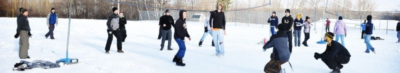 Students playing during winter carnival.