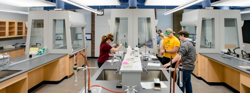Students work in a lab.