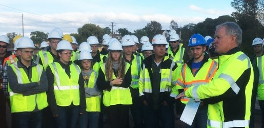 Students in hard hats.