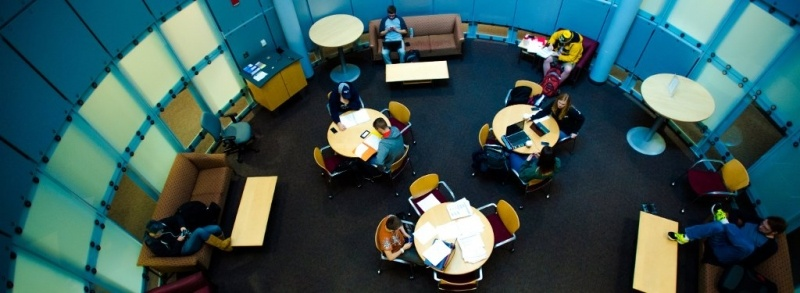 Lounge in Rekhi Hall, where students are able to study.