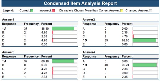 Condensed item analysis report