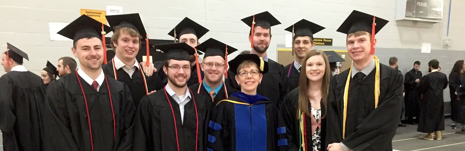 Dean of Students Bonnie Gorman with students at Commencement