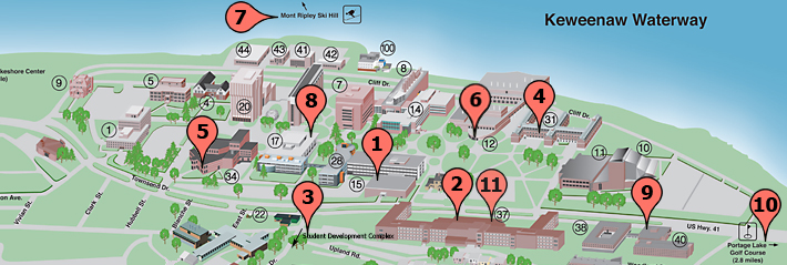 Map of dining centers at Michigan Tech