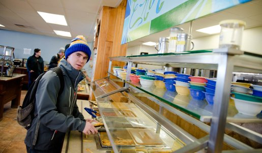 Student getting food in the McNair Dining Hall.