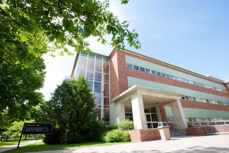 Dillman Hall entrance in summer.