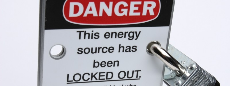 "Sign that says ""Danger: this energy source has been locked out."""