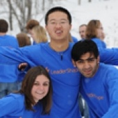 Students wearing the same blue shirt