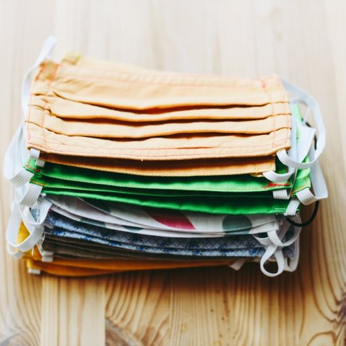 A stack of cloth face masks