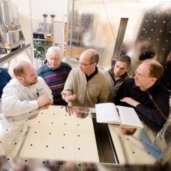 Six researchers discuss inside the Cloud Chamber lab