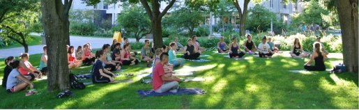 outdoor yoga on campus