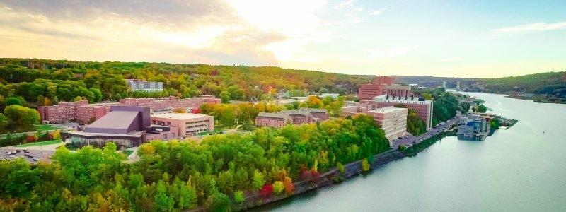 Aerial view of the Michigan Tech campus.