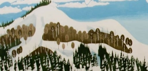 Painted wall mural of a snow covered mountain with trees.
