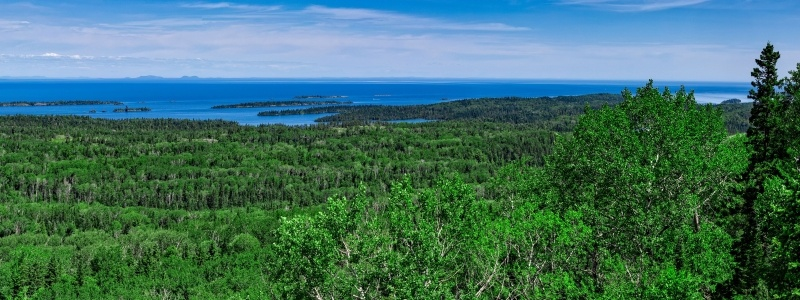 A view of Lake Superior from a hill on Isle Royale.