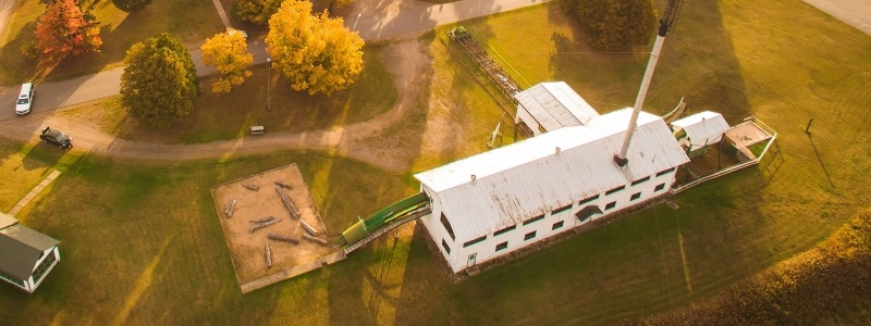 Aerial view of the Sawmill Museum building.