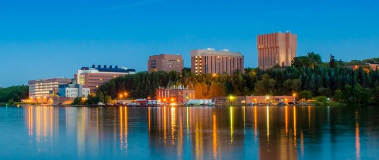 Michigan Tech campus from across the waterway.