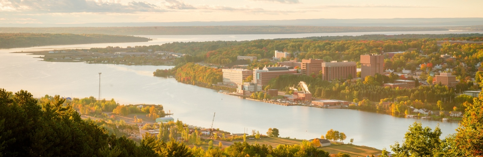 An aerial photo of the Michigan Tech campus on a fall day.