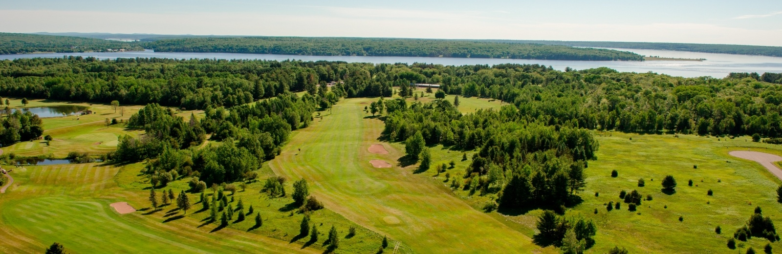 Aerial view of the Portage Lake Golf Course.