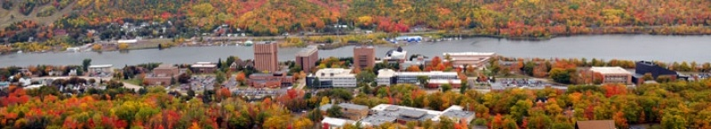 Aerial view of Michigan Tech campus.
