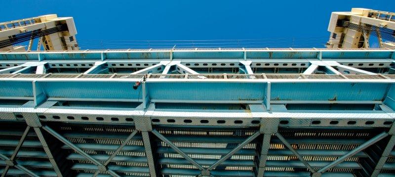 Underneath the Portage Lift Bridge looking up