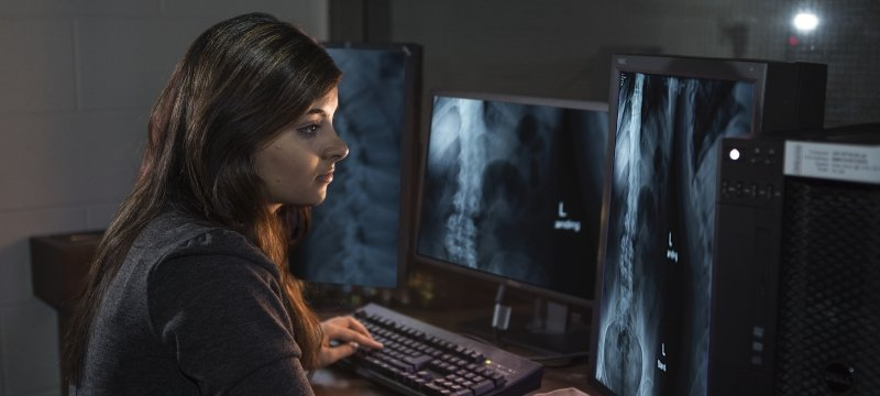 Researcher sitting at a computer looking at xrays