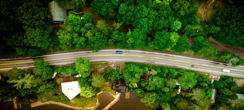 Drone view of US41 near the Ford Forestry Center
