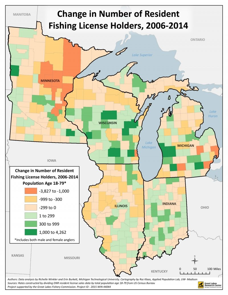 Color-coded participation rate density map of change in resident fishing license holders from 2006-2014.