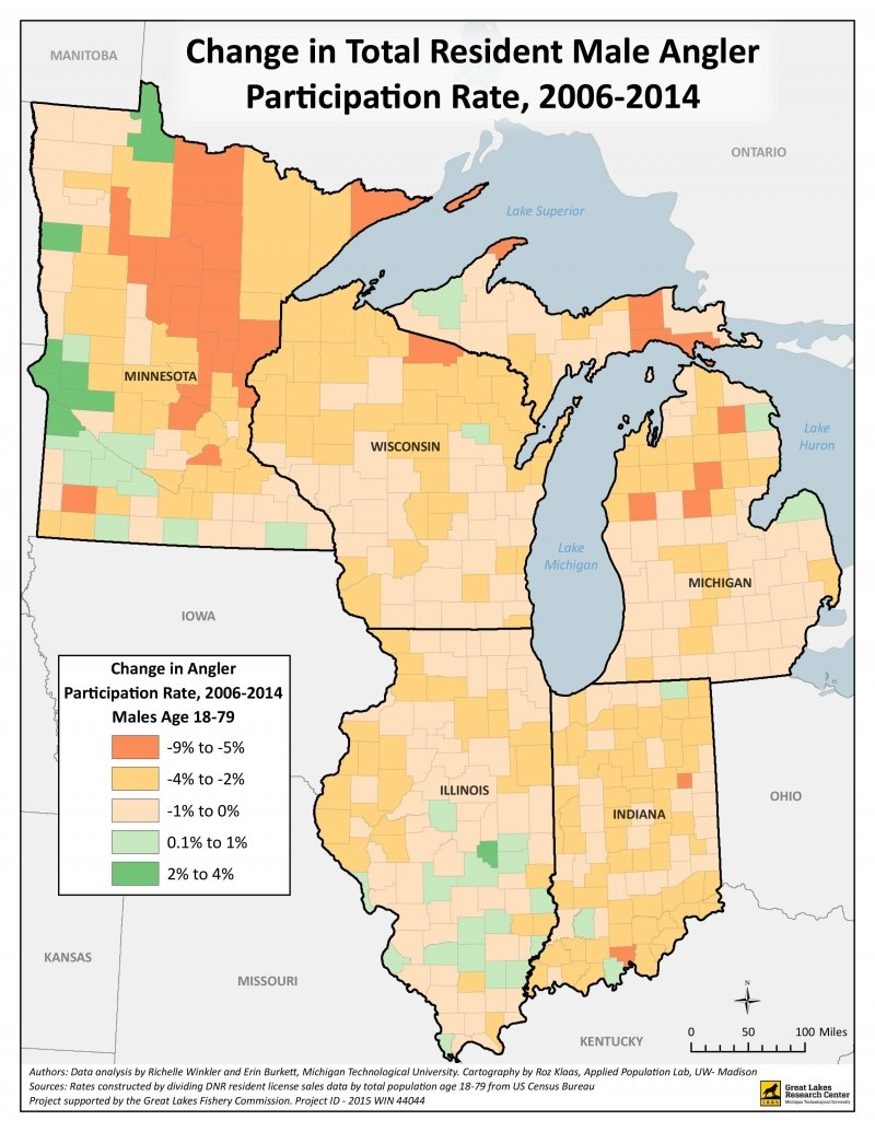 Color-coded participation rate density map of change in resident male anglers from 2006-2014.