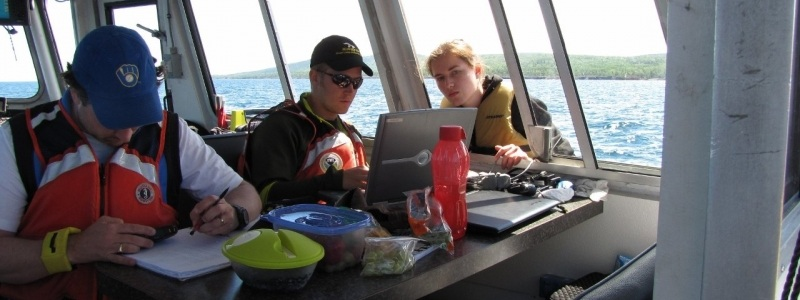 Researchers sailing on Lake Superior.