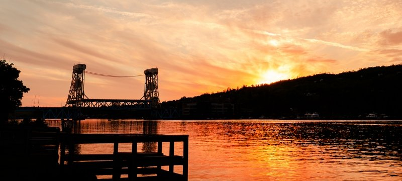 Portage lift bridge at sunset