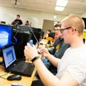 A student works on a computer