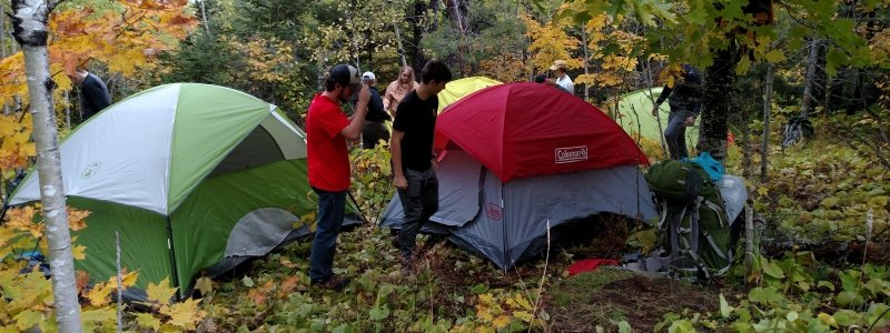 Group of students setting up tents in the woods