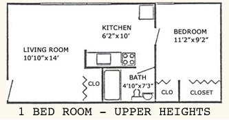 1 bedroom upper heights floor plan