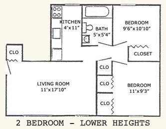 2 bedroom lower heights floor plan