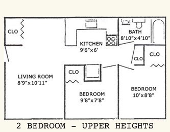 2 bedroom upper heights floorplan