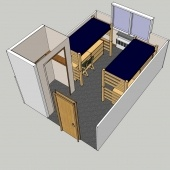A picture of a 3D model of the front of a room in DHH