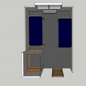 Top view of a 3D model of a DHH room