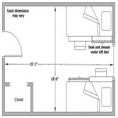A floor plan of a DHH room