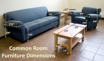 The dimensions of the common room furniture