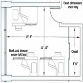 East McNair three person room floor plan