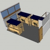 Three person room in East McNair 3D side view