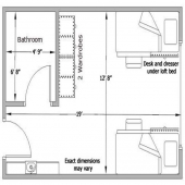 Wadsworth two person room with bath floorplan