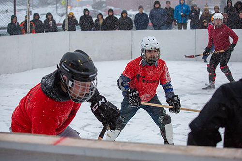 broomball players poised for action