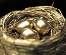 Golden eggs in a gold nest
