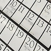 Close up of a calendar.