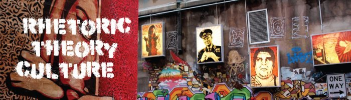 Rhetoric, Theory, and Culture text over an image of a woman, in the background are portraits of iconic figures on a graffiti wall.