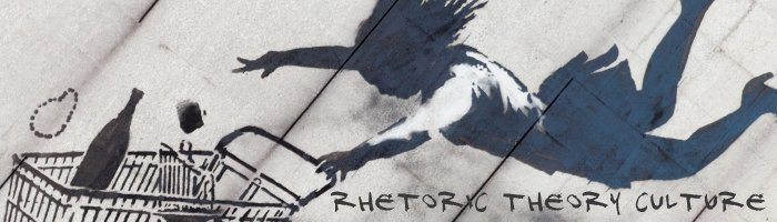 Graphic shadow of a girl on a wall falling and grasping for a shopping cart filled with groceries. Rhetoric, Theory, Culture stylized text at the bottom