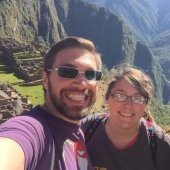 Two study abroad students taking a selfie in the mountains of Chile.