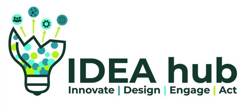 "Idea hub logo, reading ""Idea hub: innovate, design, engage, act"""