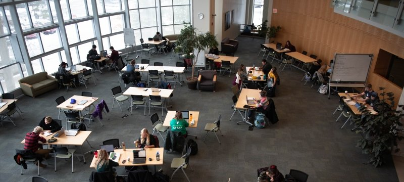 Students studying at tables in the library
