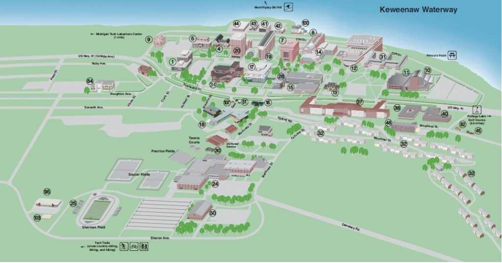 A map of Michigan Tech's campus